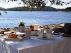 A luxurious breakfast on teh terrace of the Lešic-Dimitri Palace restaurant